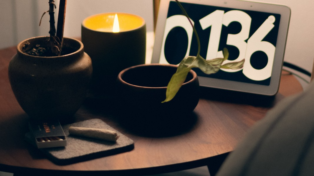 cannabis and candle